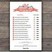 He Said She Said Game 50 Sheets Papery Pop Game Template Printable Bridal Shower Game Instant Downloa He Said She Bridal Shower Game Printable He Said She Said Game DIGITAL File Games Bridal Shower Games He Said She Said Wedding Game Printable