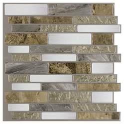 groutless kitchen backsplash shop peel stick mosaics mountain terrain linear mosaic