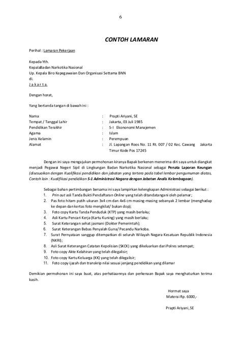 contoh surat lamaran kerja non cpns bnn 10 surat lamaran