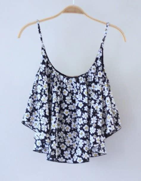 flower summer top blouse floral flowers white black singlet summer