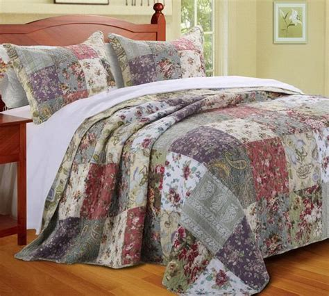 living ribbon patchwork embroidered duvet cover setkingsize country cottage patchwork cotton bedspread set oversize luxury linens 4 less