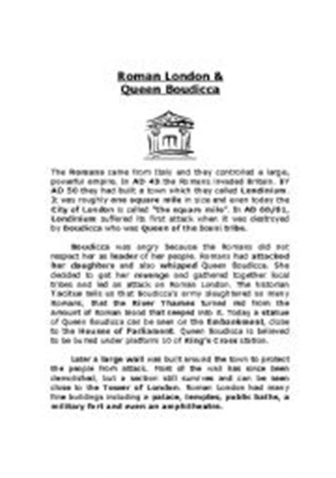 English Worksheets Roman London & Queen Boudicca