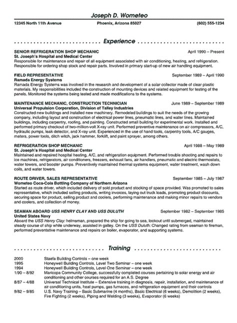 refrigeration resume templates refrigeration mechanic