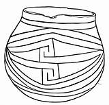 Pot Pages Pottery Colouring Coloring Pueblo Template sketch template