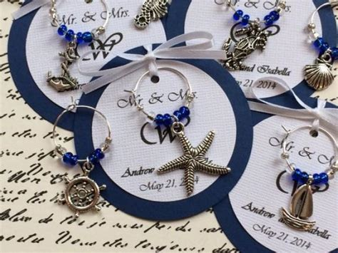 Nautical Themed Bridal Shower - custom nautical themed wine charm favors weddings