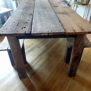 Rustic farmhouse reclaimed barn wood table and by for Barnwood outdoor table