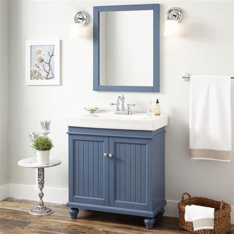 lander vanity cabinet blue bathroom