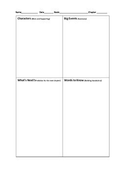 Chapter Book Notes Template By The Teaching Momma Tpt
