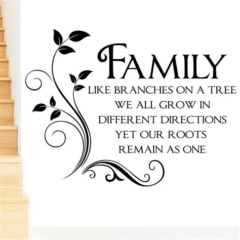 Family Like Branches on a Tree Wall Sticker Quote Word