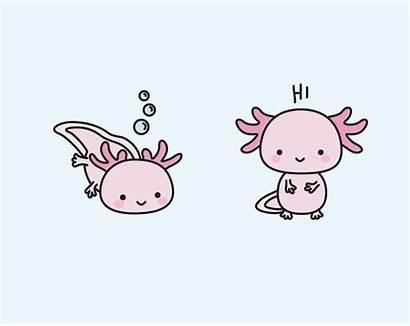 Axolotl Kawaii Clipart Axolotls Dibujo Premium Ajolote