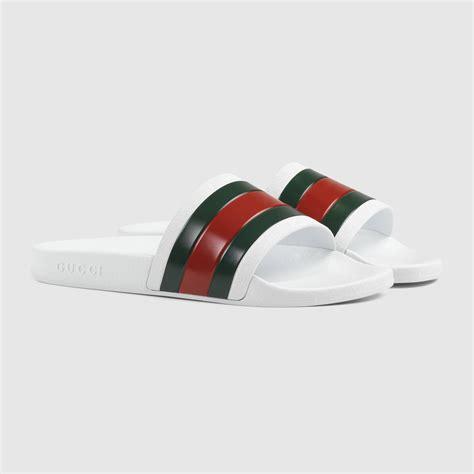 green mens gucci rubber slide sandal 308234gib109079
