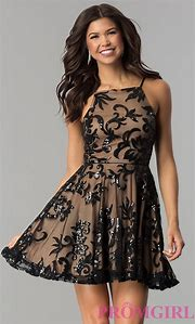 0aee209252 Short Square-Neck Homecoming Dress with Black Sequined Floral Design