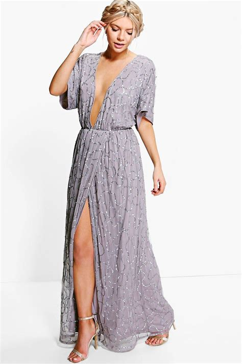 Dress Lusia Maxy boohoo womens boutique tiai all sequin tie back maxi dress