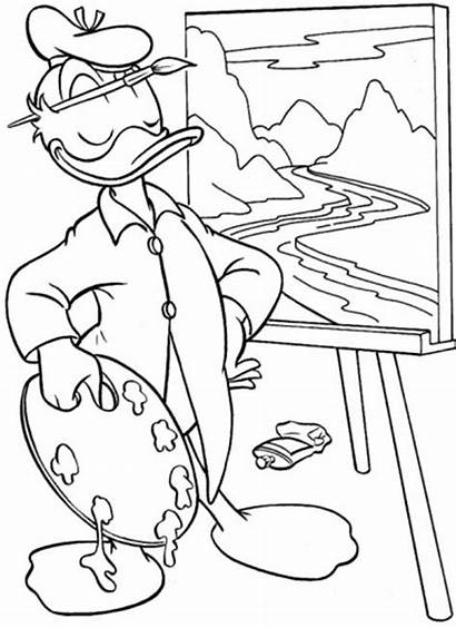 Coloring Duck Donald Painting Paint Pages Daisy
