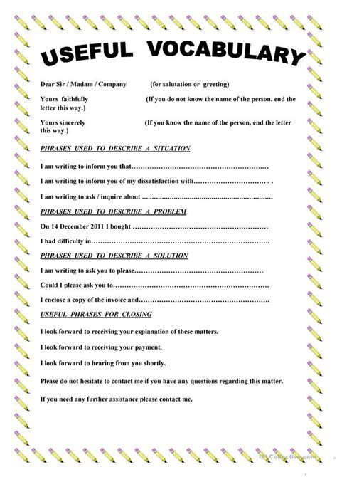 writing  complaint letter worksheet  esl printable