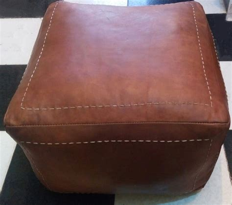Hassock Ottoman by Moroccan Genuine Leather Pouf Brown Cube Shape Pouf