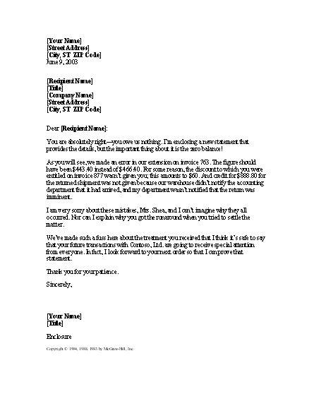 letter apologizing  multiple billing errors