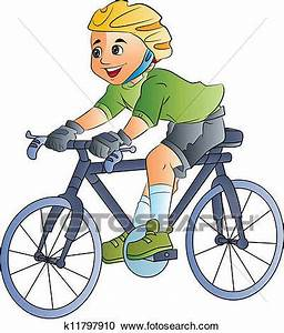 Clipart of Boy Riding a Bicycle, illustration k11797910 ...