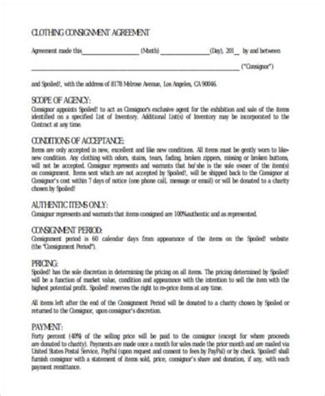 sample consignment agreement forms   ms word