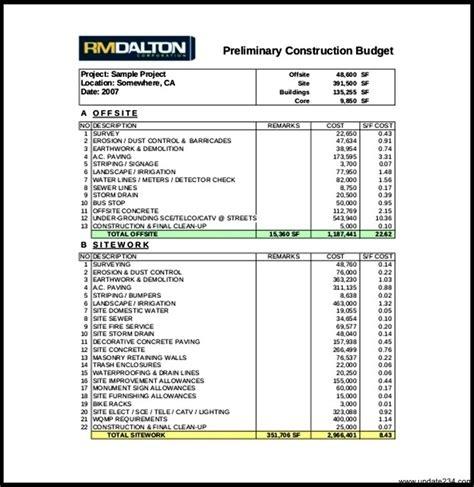 construction budget spreadsheet  mac template