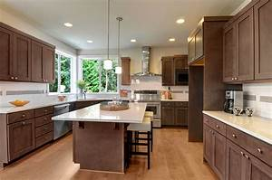 Kitchen, Island, Lighting, Cupboards, Dark, Wood, Kitchen, Hardwood, Floors