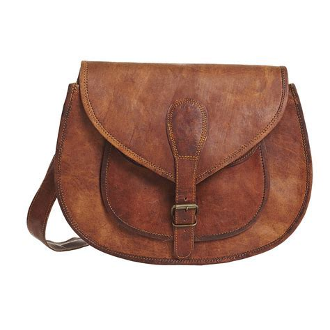 vintage leather saddle bag large by vida vida