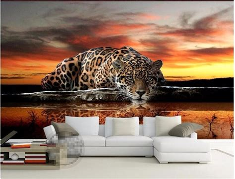 beibehang papel de parede  photo tiger leopard silk
