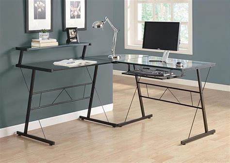 table bureau verre cool glass computer desks for home office minimalist