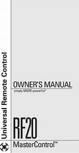 Universal Remote Control Univeral Urc Rf20 Owners Manual