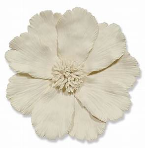 Palecek Ceramic Global Ivory Ceramic Floral Wall Sculpture