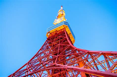 Japan, Tokyo Tower, Worms eye view, Sky, Architecture ...