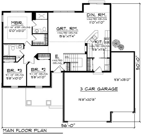House Plan 96120 Ranch Style with 1351 Sq Ft 3 Bed 1