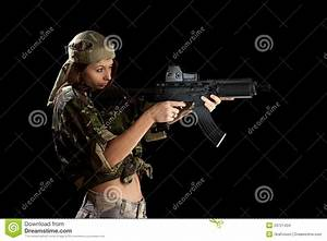 Beautiful Woman In Action Pose Stock Photo