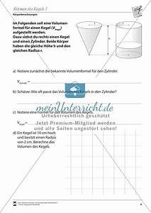Kegel Höhe Berechnen : geometrische k rper kegelvolumen berechnen meinunterricht ~ Themetempest.com Abrechnung