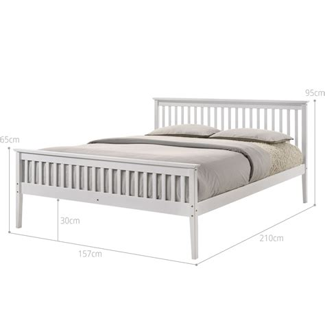 timber wooden bed frame  queen size white slatted base