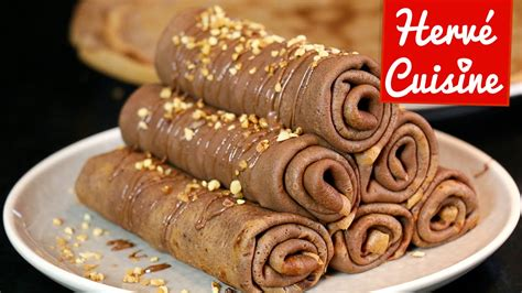 recette hervé cuisine crêpes la recette facile au chocolat version roulée