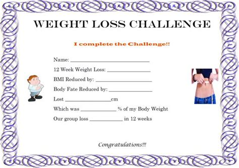 Weight Loss Certificate Template Winner 40 Word Templates For