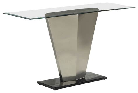 glass and chrome sofa table homelegance silverstone rectangular glass sofa table with
