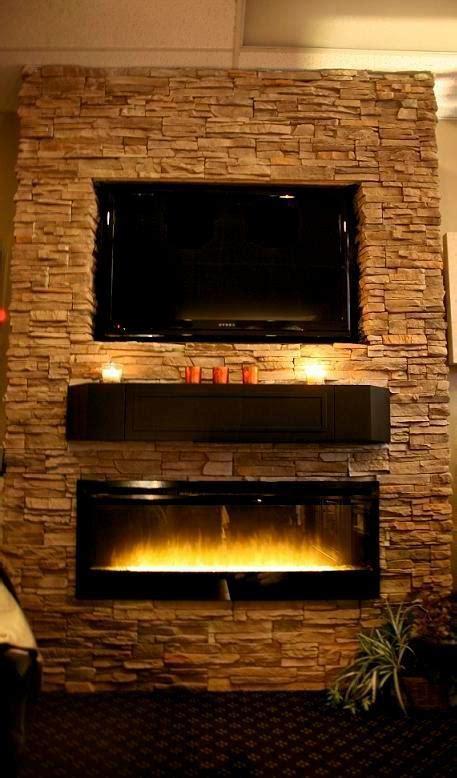 stone wall  custom shelf  electric fireplace shop