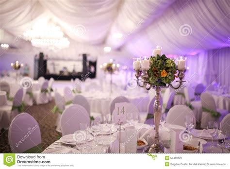 luxury wedding table decoration stock photo