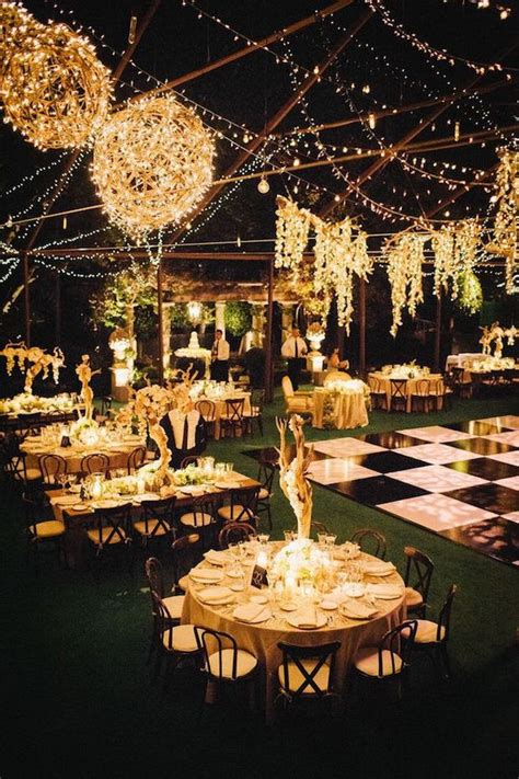 outdoor evening wedding reception