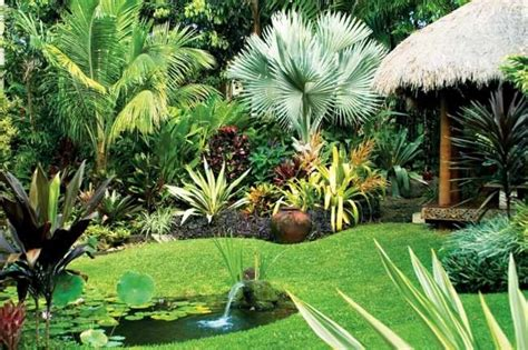 tropical style garden landscaping ideas and hardscape