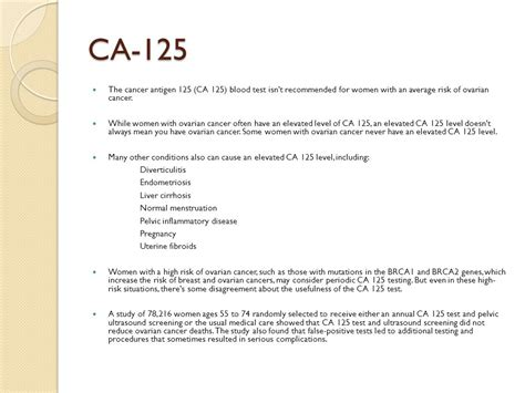 ca 125 normal range ovarian cancer s health exams in naturopathic practice ppt