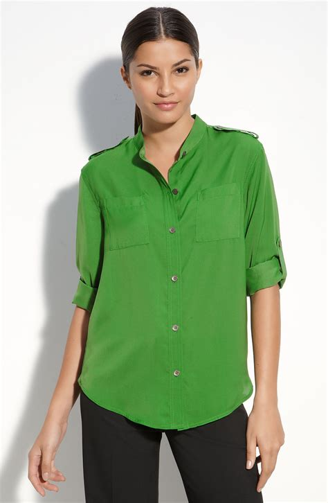 emerald green blouse dkny sheer button front blouse in green emerald lyst