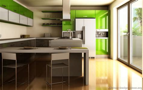 ultra modern kitchen  glossy green cabinets