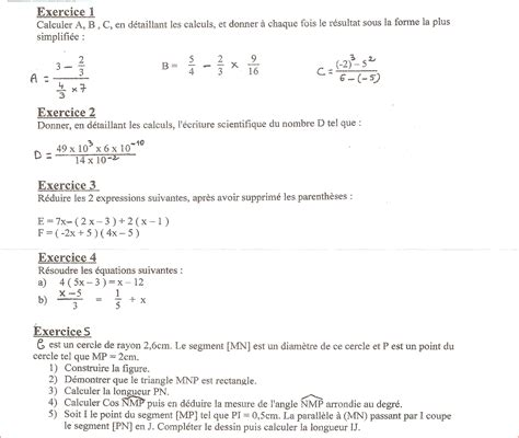 devoir maison de math 4eme correction segu maison