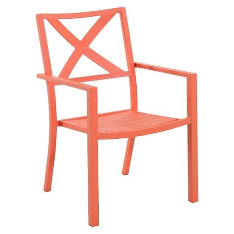 afton outdoor metal stacking chair coral threshold
