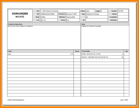 mechanic work order form  generic request template word