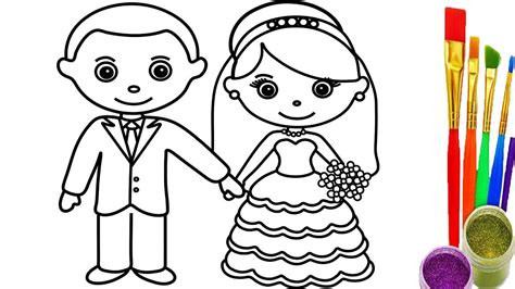 How To Draw Little Bride And Groom Coloring Pages
