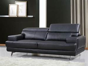 Canape Cuir Noir : canap cuir reconstitu pvc venise 3 places noir 84914 84916 ~ Teatrodelosmanantiales.com Idées de Décoration